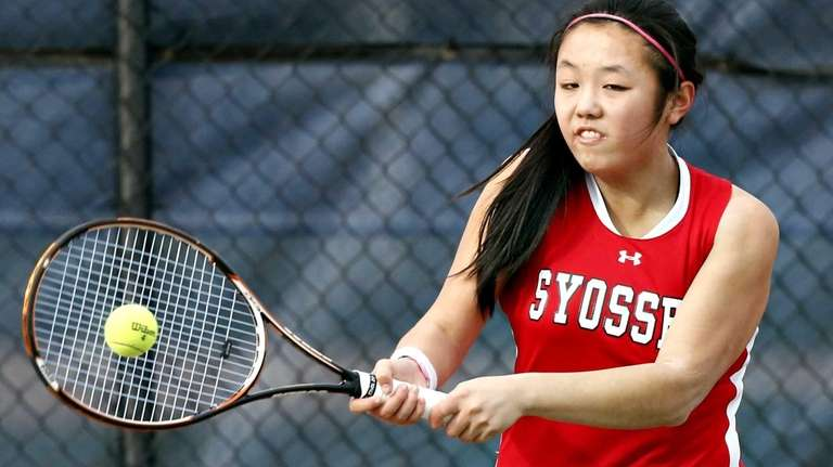 Syosset's Vivian Cheng hits a forehand during the