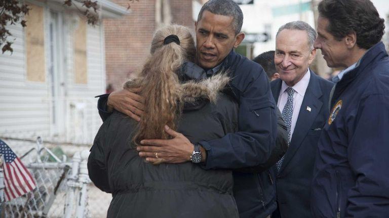 President Barack Obama hugs New Dorp Beach, Staten