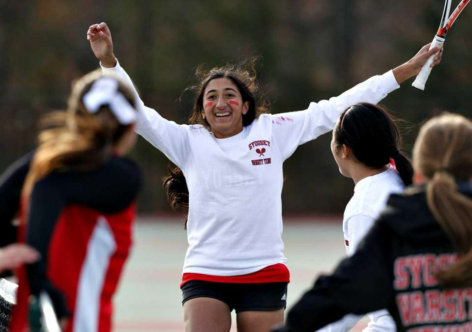 Syosset second singles player Rithika Reddy celebrates as