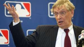 MLB Commissioner Bud Selig talks to reporters after