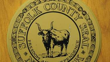A view of the Suffolk County seal.