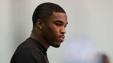 Ohio State defensive back Jeff Okudah speaks at
