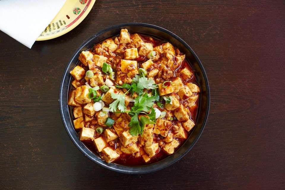 Mapo tofu, a homestyle dish invented in Sichuan