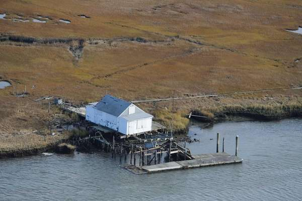 This marsh house on an island north of