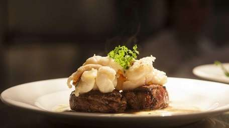 Seared beef tenderloin is served with a butter-poached