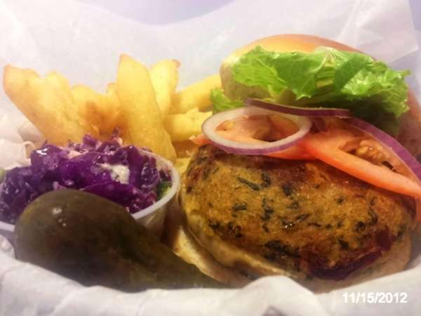 The EdgyBurger is the specialty of FeelGoods Cafe