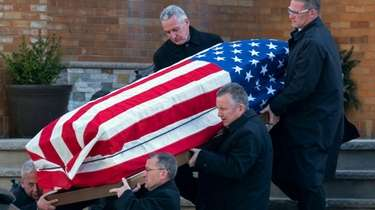 John (Sonny) Franzese's coffin is carried from Our