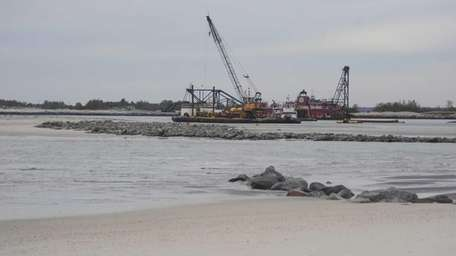 Pictured here is dredging equipment in the Moriches