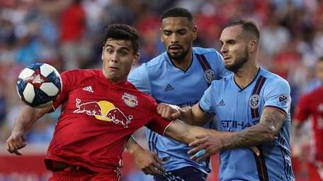 From left, Red Bulls forward Brian White, NYCFC