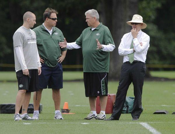 From left, Bill Hughan, Mike Tannenbaum, Rex Ryan