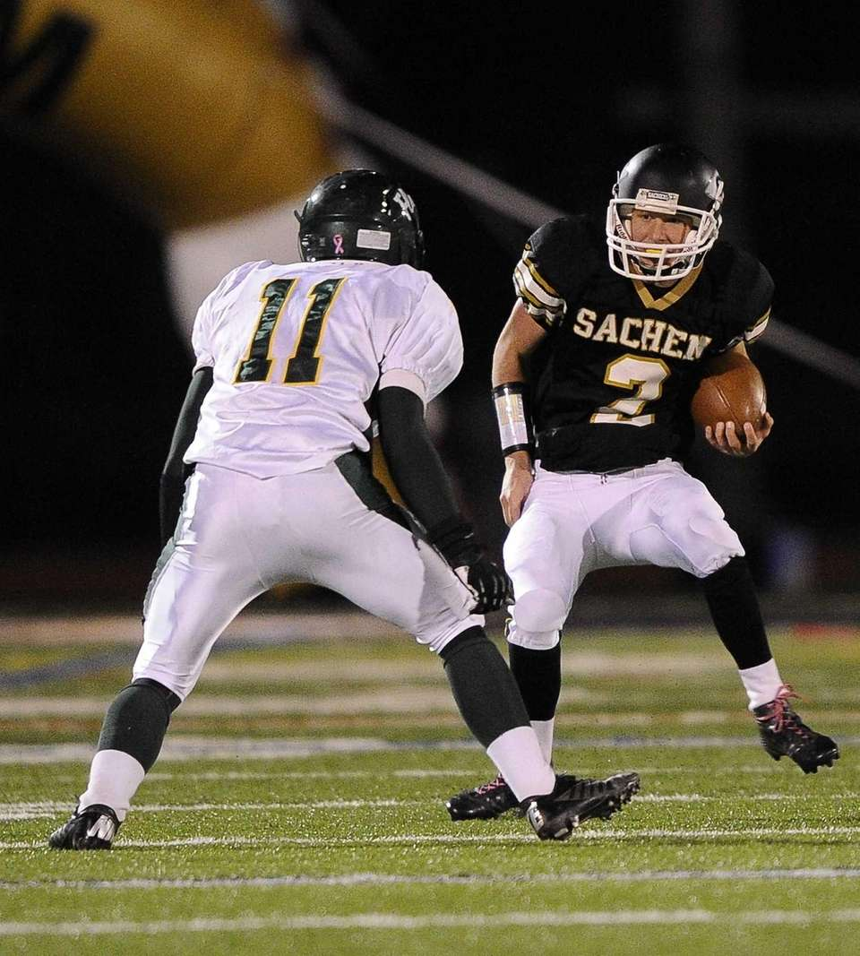 Sachem North's quarterback Mike O'Donnell looks to attempt