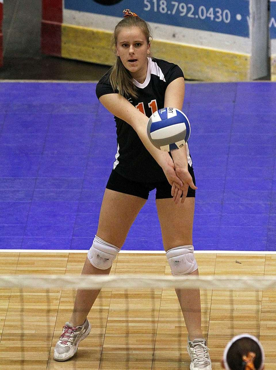 Babylon's Elizabeth Tighe gets the dig during the