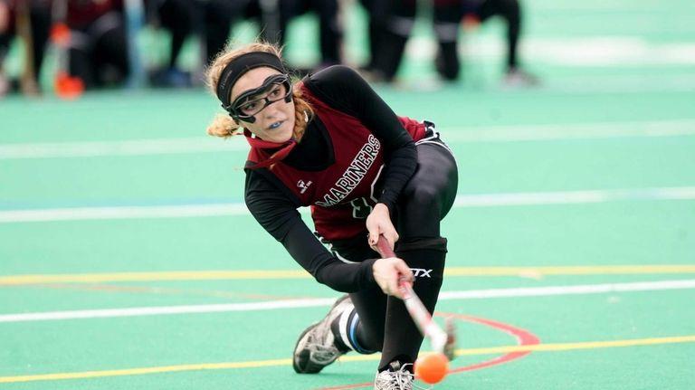 Southampton senior Emily Wesnofske fires a penalty shot