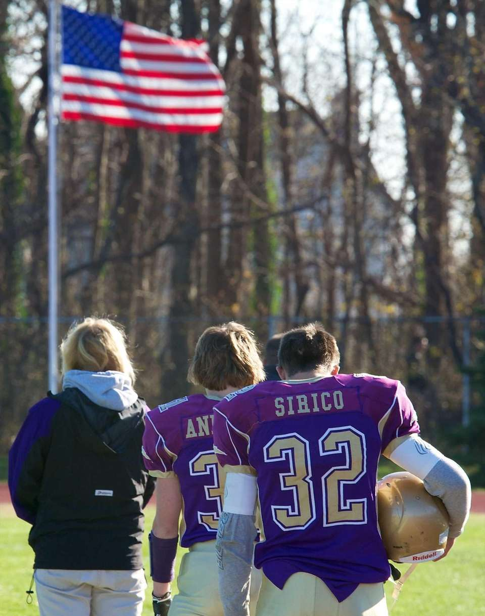 Sayville quaterback Zachary Sirico, left, and receiver Tyler