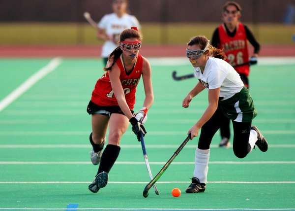 Sachem East freshman Cara Trombetta maneuvers around a