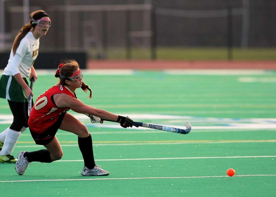 Sachem East freshman Cara Trombetta fires the ball