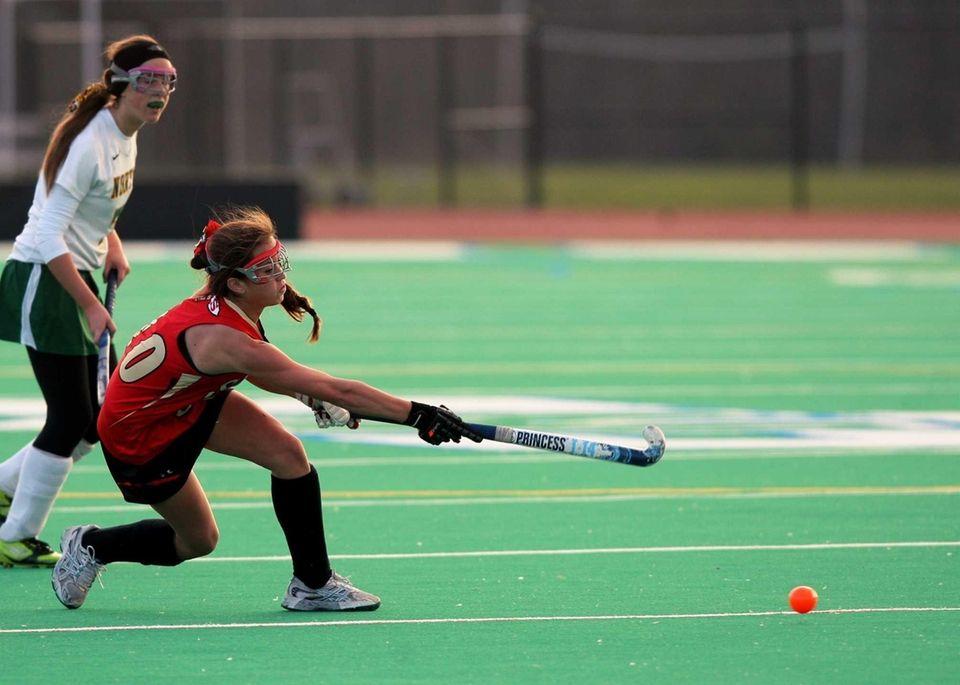 Sachem East freshman Cara Trombetta fires the ball