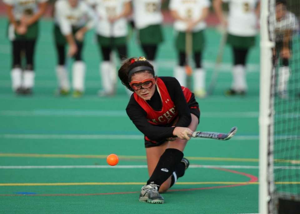 Sachem East junior Kaitlin Trombetta scores on a