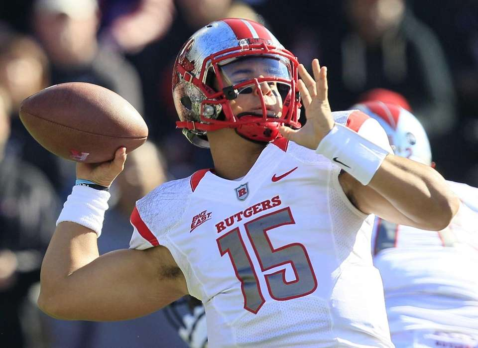 Rutgers quarterback Gary Nova passes against Cincinnati in