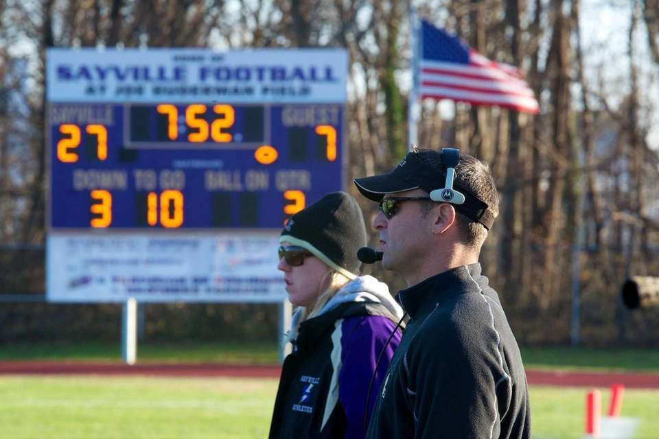 Sayville coach Robert Hoss watches his team from
