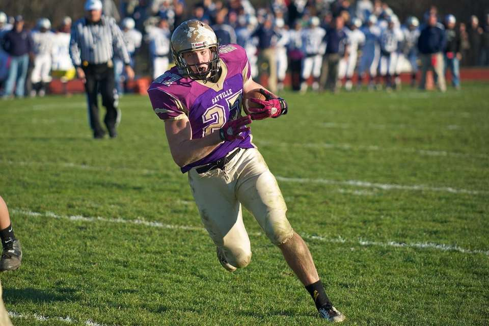 Sayville running back John Haggart runs the ball