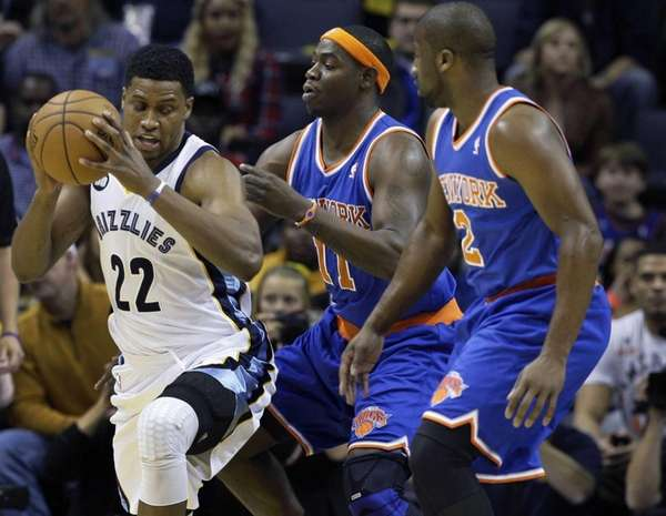 The Memphis Grizzlies' Rudy Gay looks for room