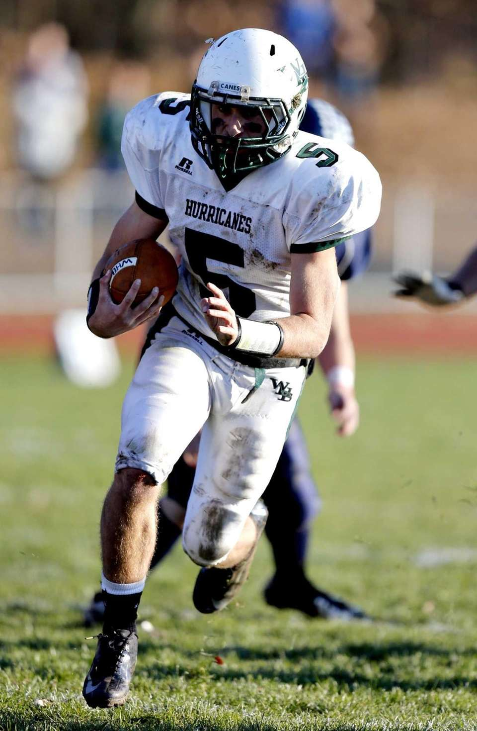 Westhampton quarterback Jack Murphy breaks into the secondary