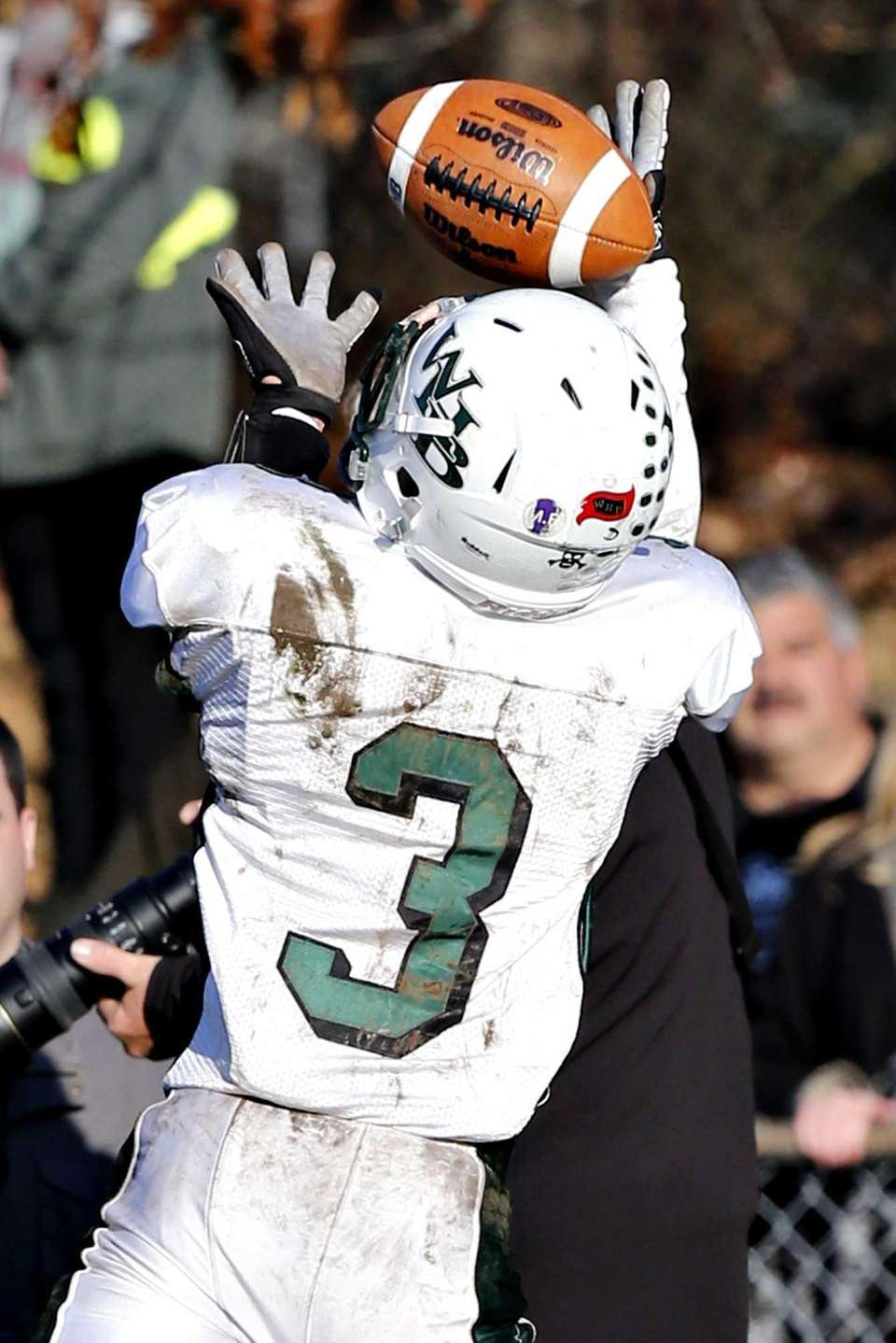 Westhampton wide receiver Zach Rignola hauls in a