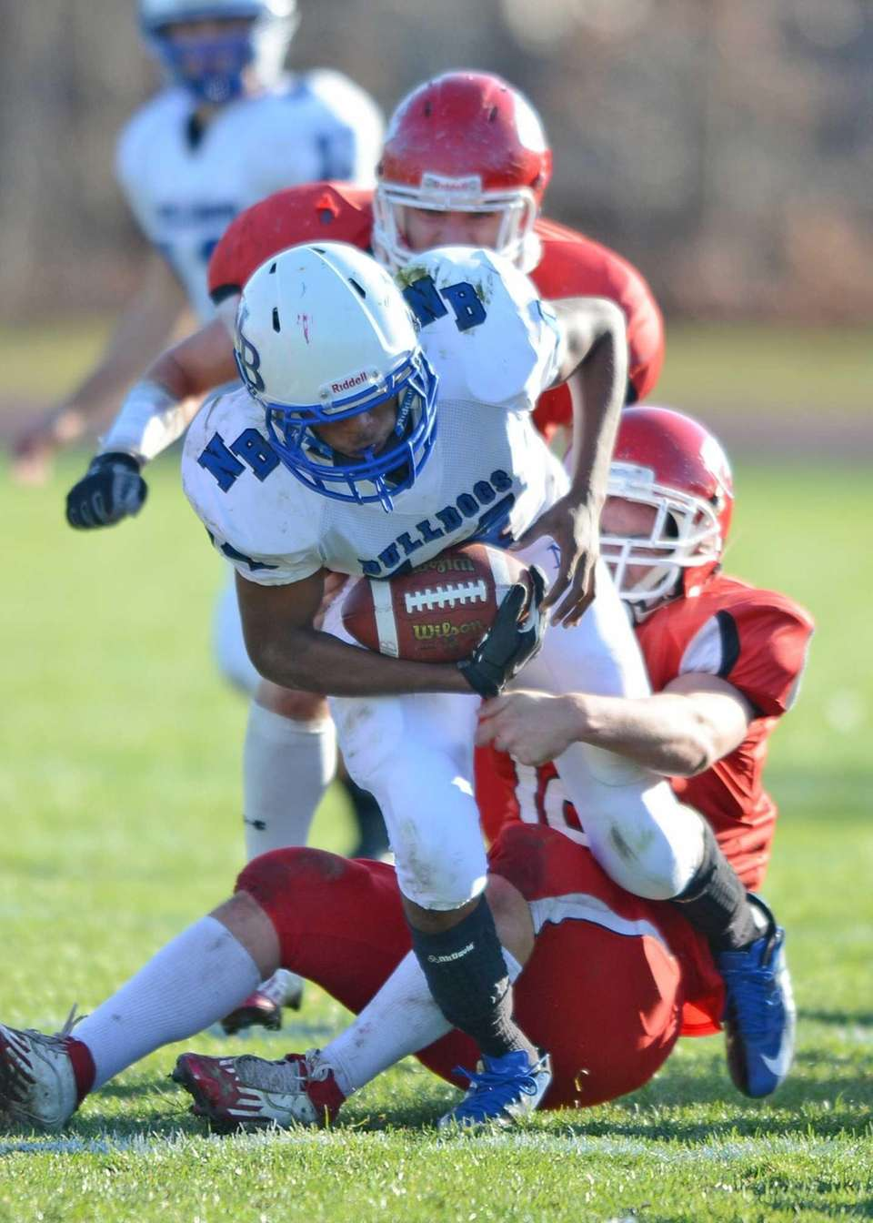 North Babylon's Melijah Previs fights for additional yards