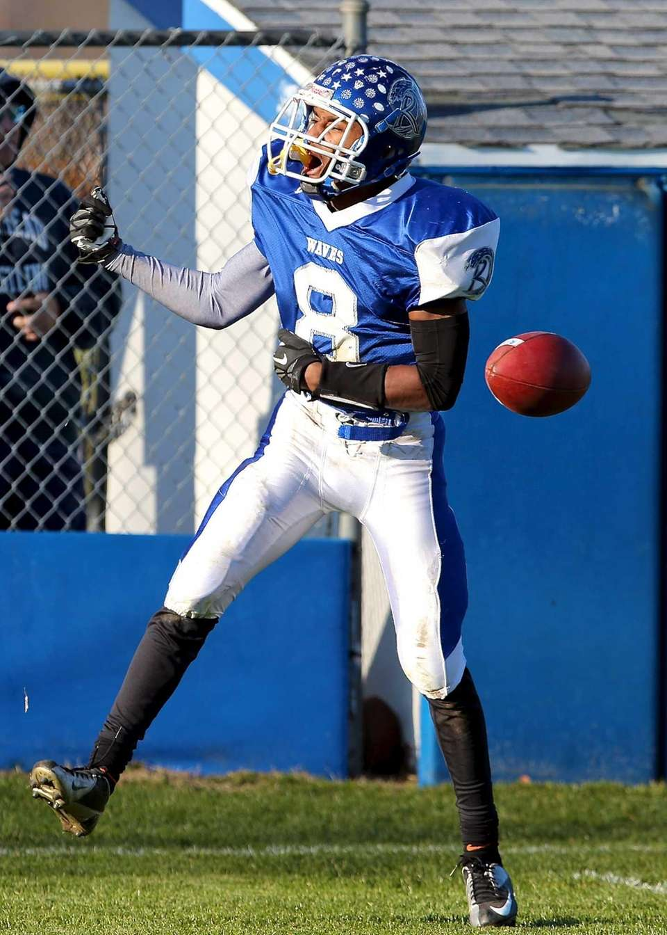 Riverhead receiver Quinn Funn celebrates his touchdown. (Nov.