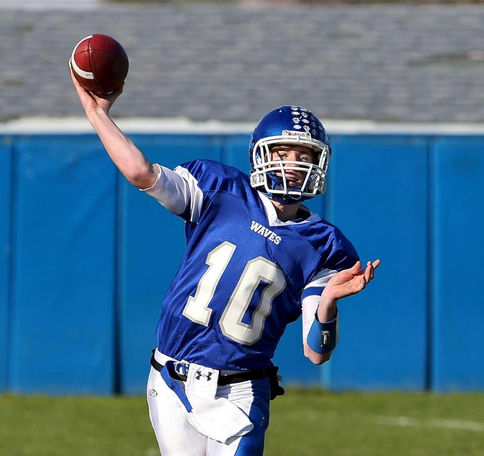 Riverhead quarterback Ryan Bitzer looks to pass during