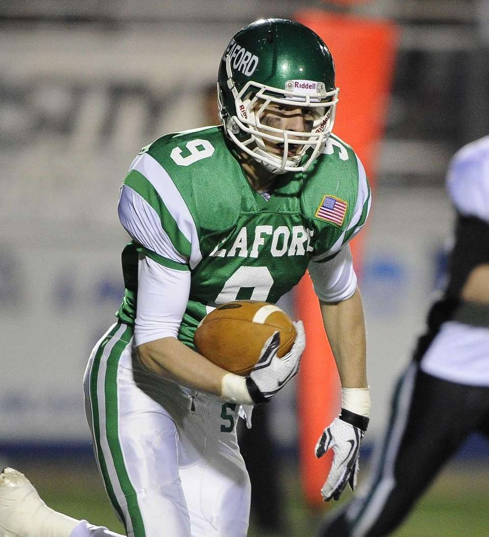 Seaford's Kyle Kolodinsky intercepts the ball and runs