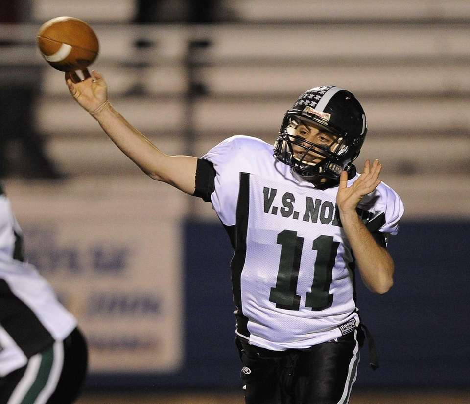 North Valley Stream quarterback Anthony Martelli throws a
