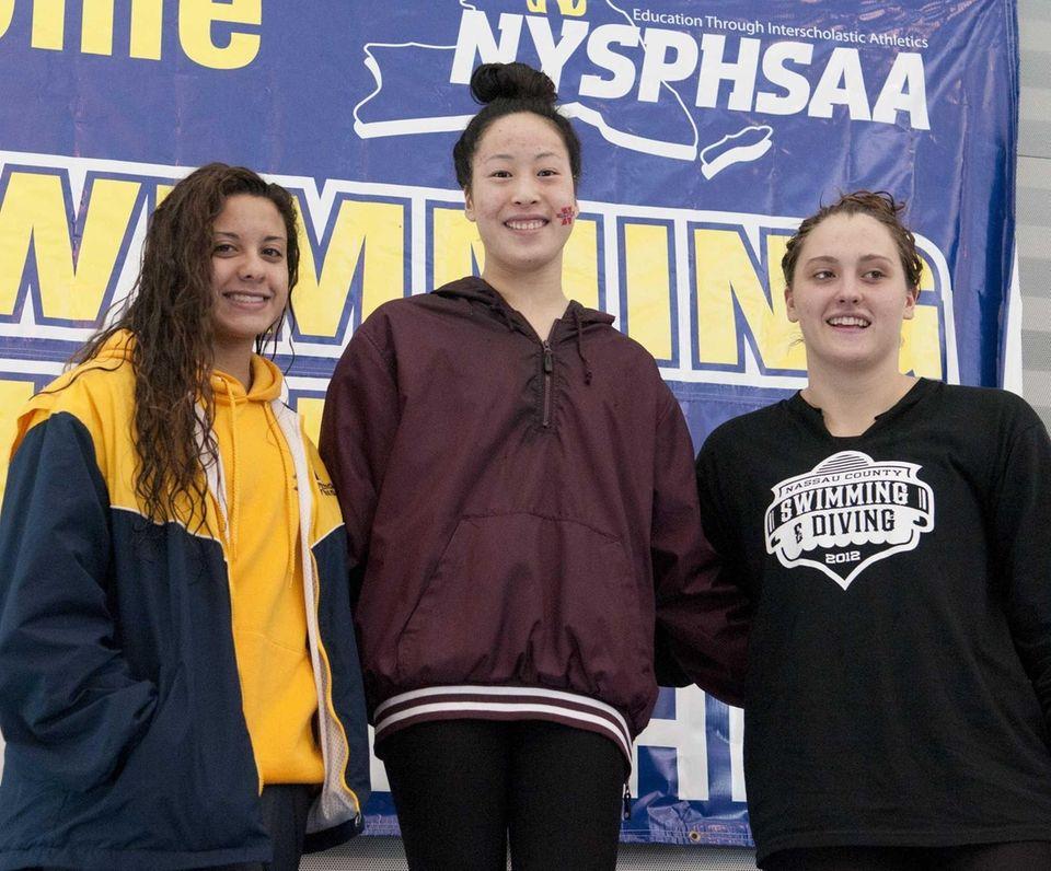 Brittany Friese, Kina Zhou and Molly Treble celebrate