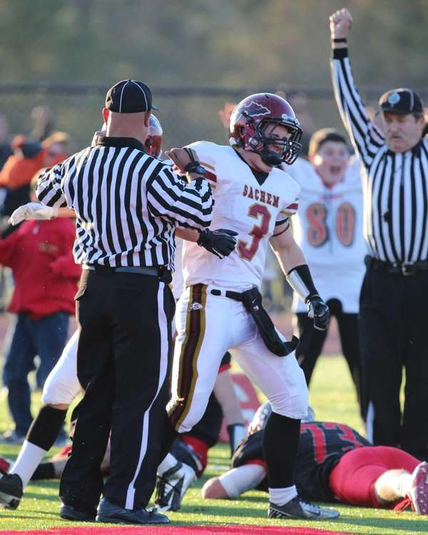 Sachem East's Ryan Dipple reacts after catching a