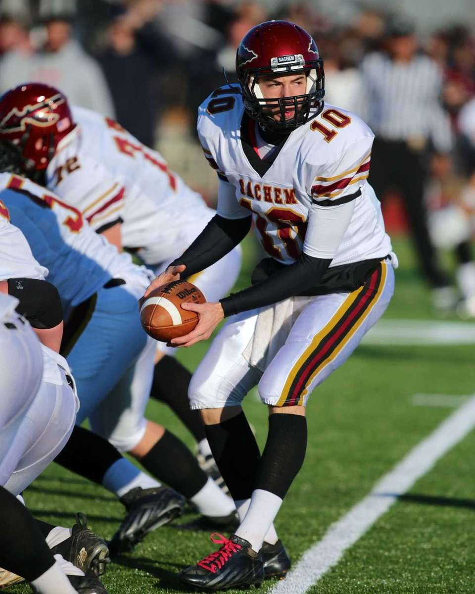 Sachem East quarterback Danny Wolff pitches the ball