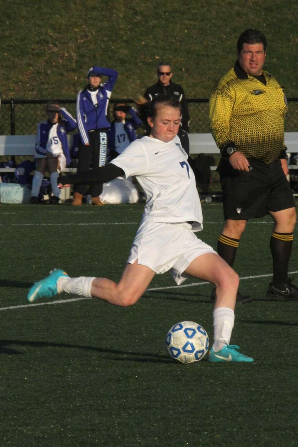 Gennifer Vandeventer of Smithtown Christian kicks the ball