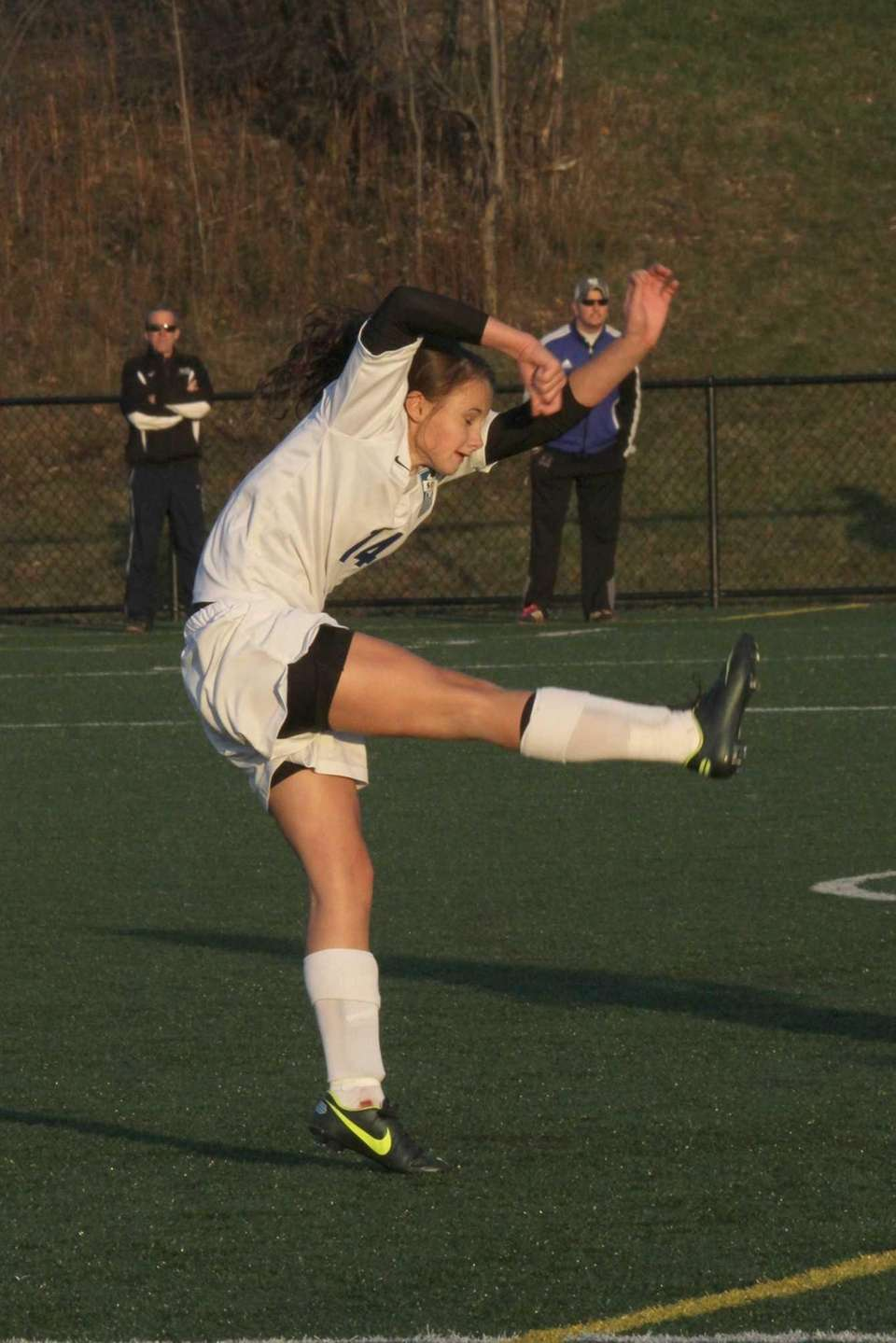 Chloe Dryzmala of Smithtown Christian kicks the ball