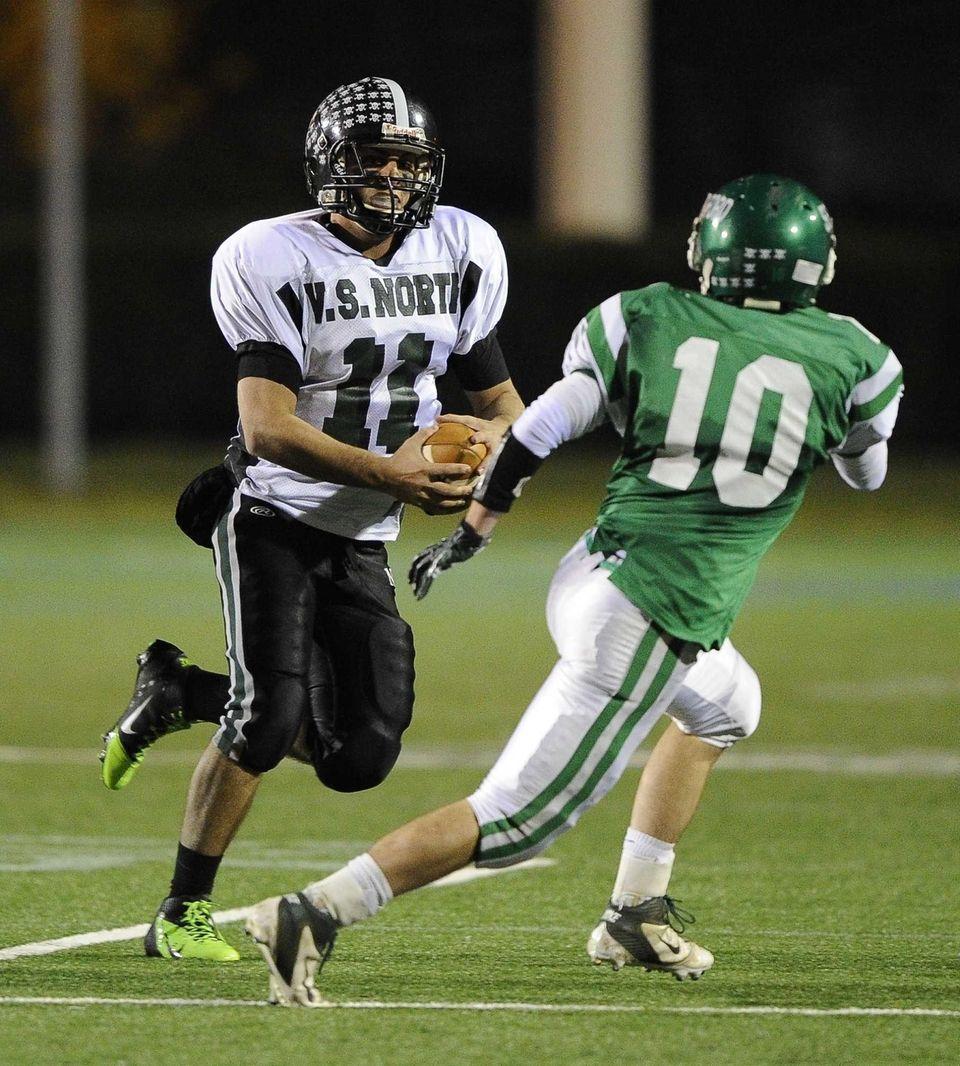 North Valley Stream quarterback Anthony Martelli runs the