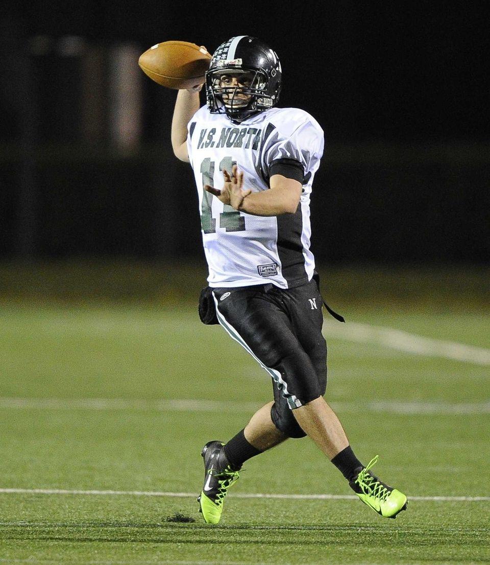 North Valley Stream quarterback Anthony Martelli scrambles and