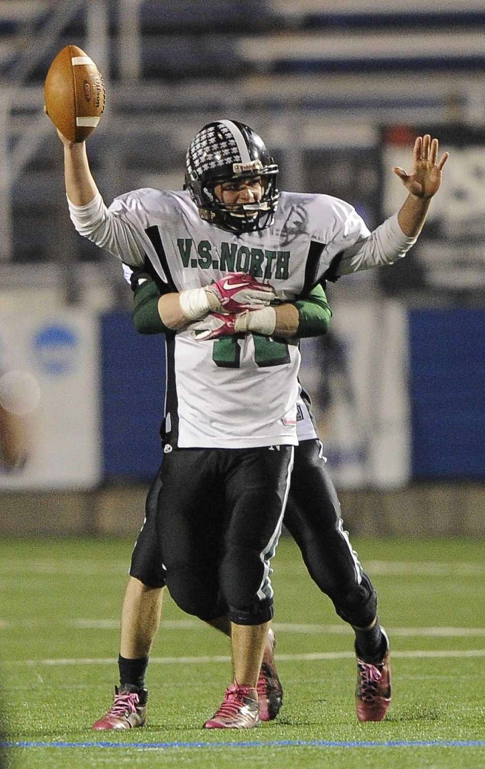 Valley Stream North's James Capoziello is hugged by