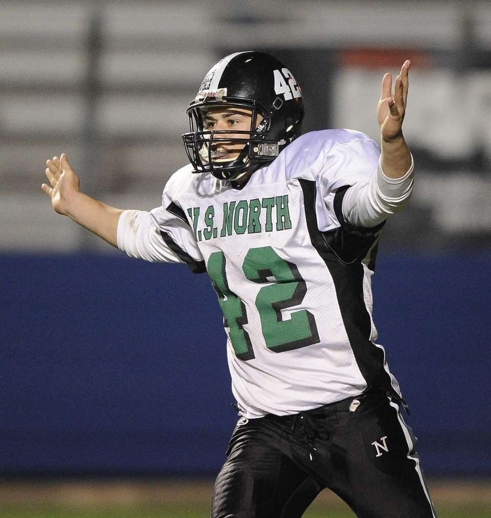 Valley Stream North's James Capoziello reacts after he