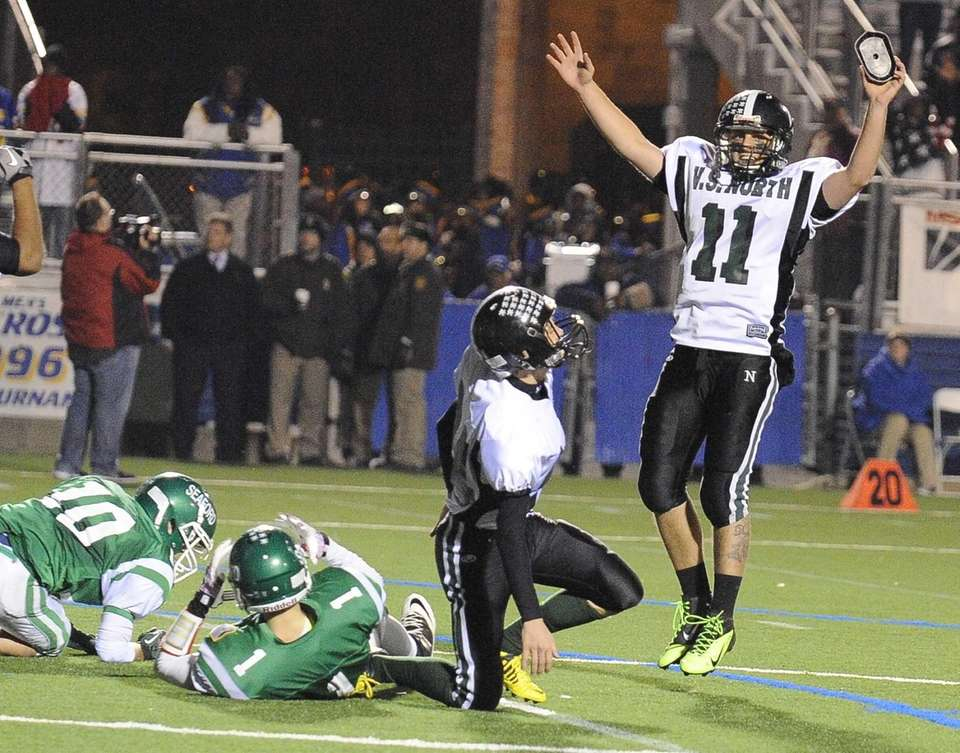 North Valley Stream quarterback Anthony Martelli reacts after