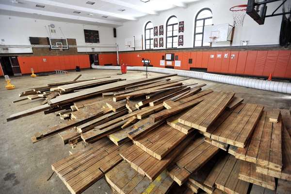 The floor in the small gym of East