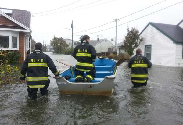 North Lindenhurst firefighters descend down South Bay Street
