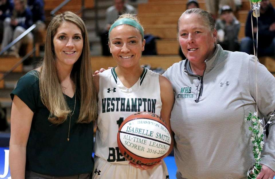 Westhampton guard Belle Smith poses with coach Katie