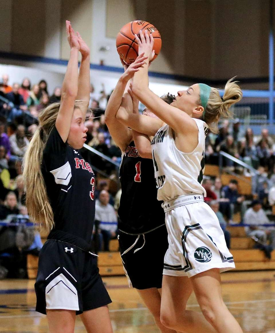 Westhampton Beach guard Isabelle Smith gets fouled on