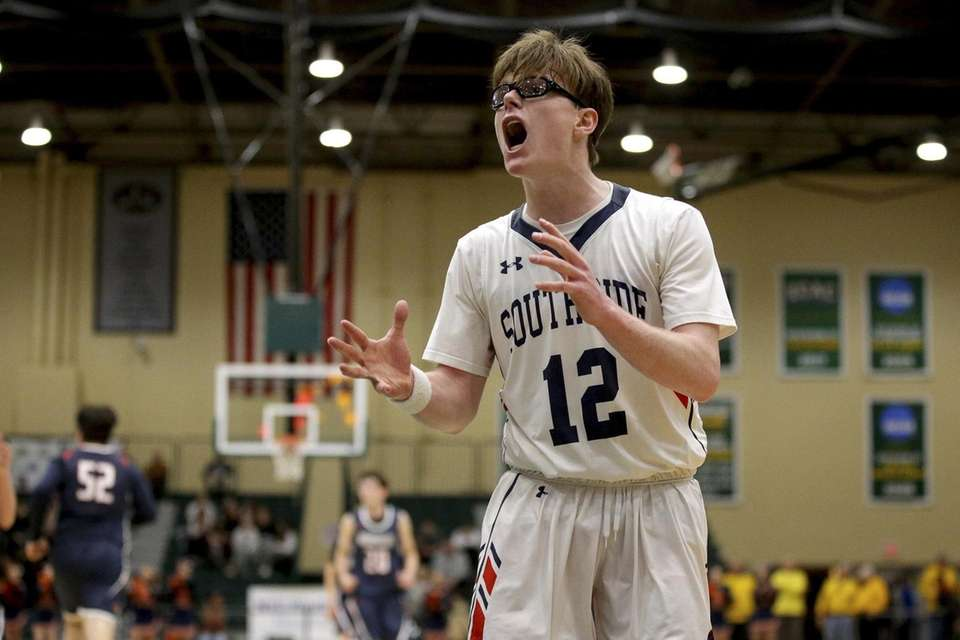 South Side Cyclones guard Ryan Ledwith (12) reacts