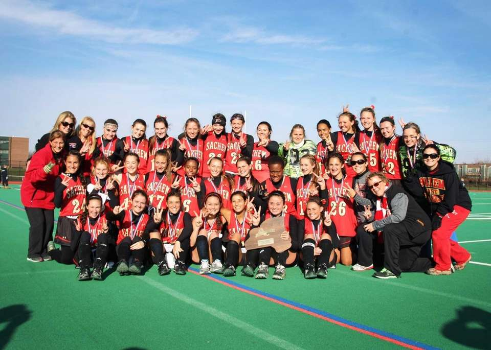 The Sachem East Flaming Arrows after winning the