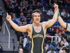 Matthew Rogers of Wantagh celebrates the win after